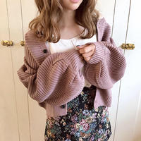 volume sleeve knit cardigan (smoke purple)
