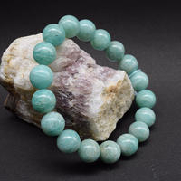 「アマゾナイト・珠径11mm・腕サイズ16.5cm」【特価品】青みがかったきれいなグリーン♪[AC51]