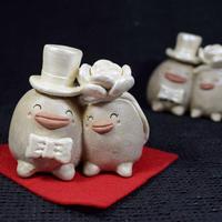 「ウエディングぼっくりちゃんズ」【注文制作品】ハッピーなカップルの記念に。贈り物にも♪