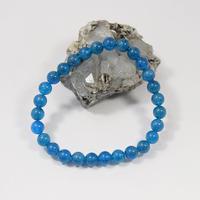 「ネオンブルーアパタイト・珠径6.5mm・腕サイズ15.5cm」美しい海の色にも見える鮮やかなブルー♪  [AA04-05]