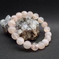 「桜アゲート・珠径10.5-11mm・腕サイズ15cm」春色の珍しい天然石ブレスレット♪「AD61」