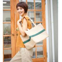 【予約商品】レジバッグ 緑(持ち手ジュートコットン)|6456