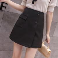 レディース スカート ハイウエスト カジュアル Aライン ショート スリム ポケット 装飾ボタン ブラック アプリコット