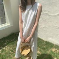 ノースリーブ ワンピース  綿 タンク ドレス