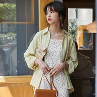 ブラウス 韓国 かわいい シャツ オフィス カジュアル ルーズスリーブルーズ