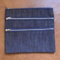kenneth field -3zipper pouch Ⅱ-(6oz indigo denim)