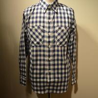 boncoura 2018aw ギンガムチェックワークシャツ -indigo×white-