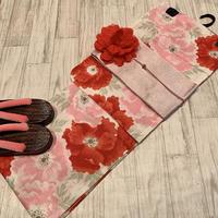 浴衣ジェンヌ 浴衣5点セット オフホワイトに赤とピンクの大花