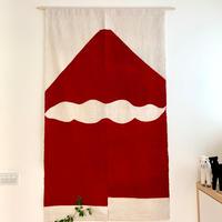 山内武志 型染め暖簾 赤富士雲ひとつ