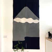 山内武志 型染め暖簾 富士山 紺×グレー雲ひとつ