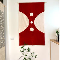 山内武志 型染め暖簾 丸 赤×白