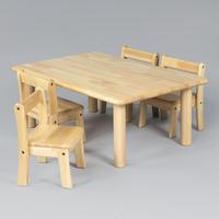 角テーブル 90 x 60 丸脚 43 と 幼児椅子26 x 4脚