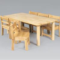 角テーブル 120 x 60 丸脚 33 と 乳児椅子18 x 6脚