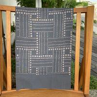 山内武志 型染め手ぬぐい  編み 濃いグレー×薄いグレー