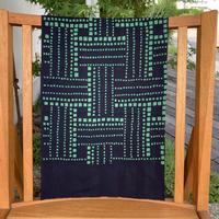 山内武志 型染め手ぬぐい  編み 紺×緑