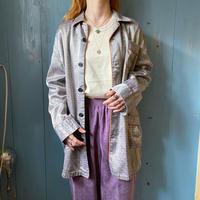 1960~70s euro vintage グレーブラウン サテン ナイトシャツ[9206]