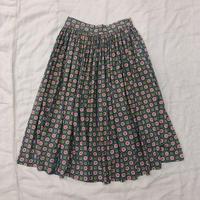 1950'S VINTAGE  丸と四角柄サーキュラースカート(GRAY)[7068]