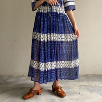 EURO vintage ボタニカル柄 ネイビー インド綿スカート [2321]