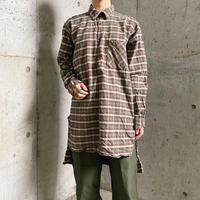 EURO vintage ブラウン&グリーン チェック柄 ネルグランパシャツ[8293]