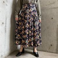 ボタンダウンデザイン 花柄プリントレーヨンスカート[8653]