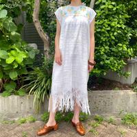 1970s vintage 裾フリンジデザイン メキシカンウィピルドレス [2258]