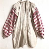 1920'S ANTIQUE チェック柄ウクライナ刺繍ドレス(IVORY)[7157]