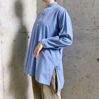 1950〜60s EURO work vintage ブルー グランパシャツ [7335]