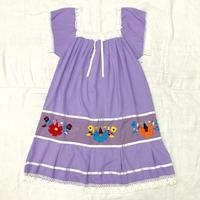 ヴィンテージ メキシコ刺繍レースデザインワンピース(PURPLE)[7032]
