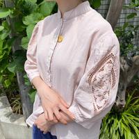 vintage カットワーク刺繍 パフスリーブ チロルブラウス(pink overdyed)[8766]