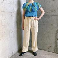 ブルー タイダイ柄リボンカラー デザイントップス[7933]