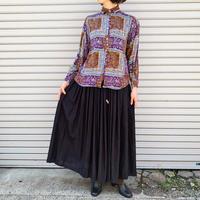 パープル×ブラウンお花プリントレーヨンシャツ [9257]