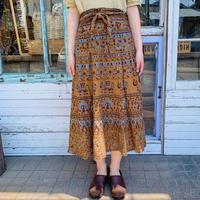 1970s   ブラウン 象 孔雀 ボタニカル柄ハンドブロックプリント インド綿ラップスカート[1033]