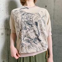 1980's  vintage ヒョウ親子 ラメ付 ドルマンTシャツ[7794]