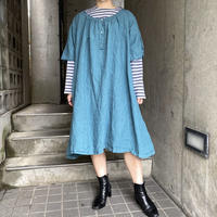 1920s French antique フリルデザイン BIG size リネンワンピース (blue overdyed) [9826]