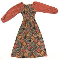 1970'S VINTAGE オリエンタル柄ヒッピーワンピース(RED)[7014]