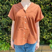 used ブラウンラメストライプ オープンカラーシャツ[7659]