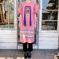 1970's vintage フリンジ グアテマラ刺繍ドレス[1022]