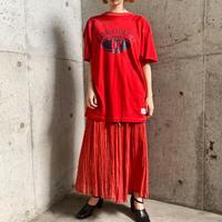 VINTAGEインド刺繍入り コットン・レーヨン レッド スカート[9527]