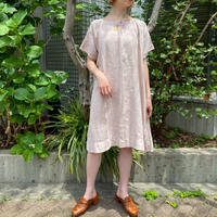 1920s French Antique フロントイニシャル入り リネンドレス(pink overdyed) [2130]
