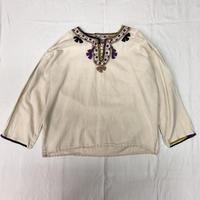 VINTAGE メキシコ刺繍ウィピルトップス(WHITE × PURPLE)[7086]