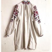1920'S ANTIQUE カラフルウクライナ刺繍ドレス(WHITE)[7159]