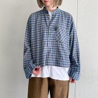 euro vintage 青×茶系チェック柄 ショート丈リメイク グランパシャツ[9156]