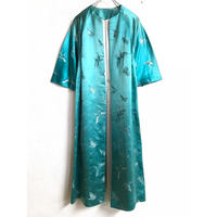 VINTAGE 蝶々柄チャイナ刺繍ガウン(BLUE)[7213]