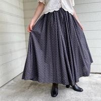 vintage 小花柄フレアロングスカート (BLACK) [9027]