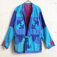1980'S  VINTAGE リバーシブルパッチワークジャケット (BLUE) [7422]