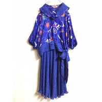 1980〜90'S VINTAGE 「Susan Freis」セットアップドレス (BLUE)[7080]