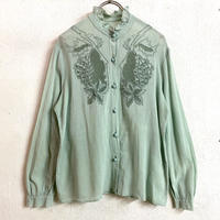 1960〜70'S VINTAGE made in Chinaお花刺繍ブラウス (GREEN) [7405]