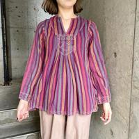 Vintage ストライプパターン×魚モチーフ刺繍 インド綿スキッパーシャツ [9807]