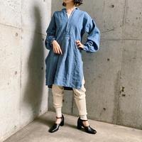 1920'S France antique 長袖 リネンドレスシャツ(BLUE overdyed) [7834]