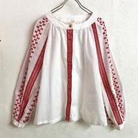 ルーマニア刺繍ブラウス (WHITE×RED) [9016]